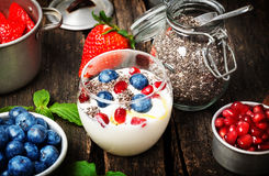 Yogurt, berries, chia seeds, healthy breakfast. Yogurt, berries and chia seeds, healthy breakfast Royalty Free Stock Photography