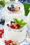 Yogurt with berries, close-up Royalty Free Stock Photo