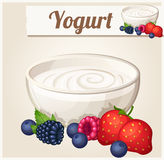 Yogurt with berries.  Detailed Vector Icon Stock Images