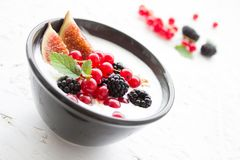 Yogurt, Berries, Fig, Fruits Stock Photo