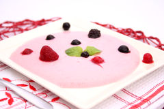 Yogurt with berries Stock Photos