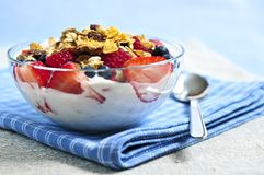 Yogurt with berries and granola royalty free stock photography