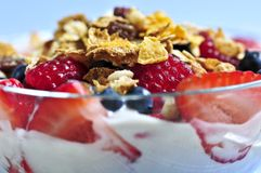 Yogurt with berries and granola Stock Photos