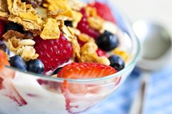 Yogurt with berries and granola Stock Image