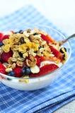 Yogurt with berries and granola stock photo