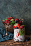 Yogurt with berries. Healthy breakfast, fresh berries and yogurt with chia seeds Stock Photography