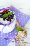 Yogurt with berries Stock Photos