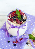 Yogurt with berries and oat flakes Stock Image