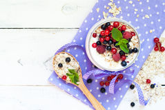 Yogurt with berries and oat flakes Royalty Free Stock Photos