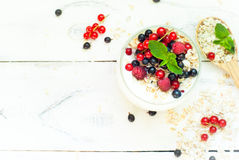 Yogurt with berries and oat flakes Royalty Free Stock Images