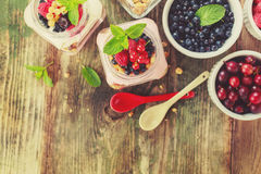 Yogurt with berries Stock Images