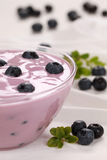 Yogurt with bilberries Royalty Free Stock Photography