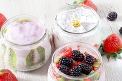Yogurt Blackberry Strawberry Kiwi Royalty Free Stock Photos