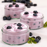 Yogurt with blueberries Royalty Free Stock Photo