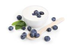 Yogurt with blueberries Stock Photo