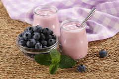 Yogurt with blueberries in a glass jar and blueberries in a glas Royalty Free Stock Photo