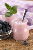 Yogurt with blueberries in a glass jar and blueberries in a glas Stock Photo