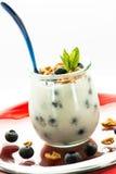 Yogurt with blueberries in a glass. Yogurt with blueberries, mint and cantuccini in a glass Stock Photos