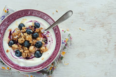Yogurt with blueberries and granola Royalty Free Stock Image