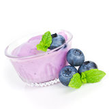 Yogurt with blueberries Stock Image