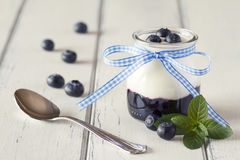 Yogurt and blueberries Royalty Free Stock Photos