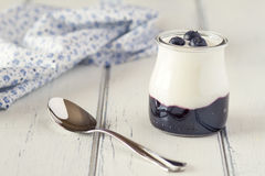 Yogurt and blueberries Stock Image