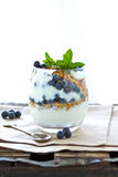 Yogurt with blueberries and meusli Royalty Free Stock Images