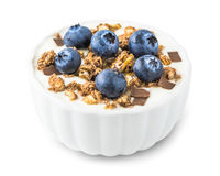 Yogurt with Blueberries and Muesli Stock Photography