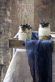 Yogurt with blueberries on tray Stock Image