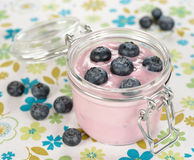 Yogurt with blueberries Royalty Free Stock Photos