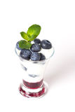 Yogurt with blueberry, jam and mint Stock Photos