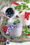 Yogurt with blueberry and red currant Stock Photography
