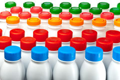 Yogurt bottles Stock Photos