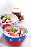 Yogurt bowls with strawberry and blueberry Stock Photos