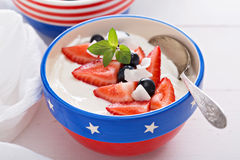 Yogurt bowls with strawberry and blueberry Stock Images