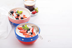 Yogurt bowls with strawberry and blueberry. For breakfast stock photos