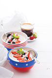 Yogurt bowls with strawberry and blueberry Royalty Free Stock Photo