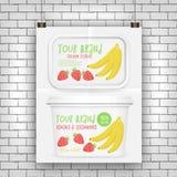 Yogurt box mockup. Vector 3d design with banana and strawberry frozen yogurt Royalty Free Stock Photos