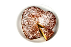 Yogurt cake in heart shape Royalty Free Stock Photo