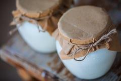 Yogurt casalingo del latte in barattoli immagine stock