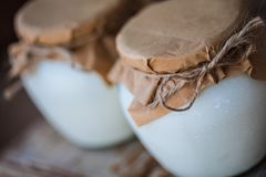 Yogurt casalingo del latte in barattoli fotografia stock libera da diritti