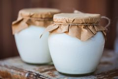 Yogurt casalingo del latte in barattoli immagini stock