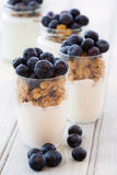 Yogurt and cereal breakfast Stock Photo