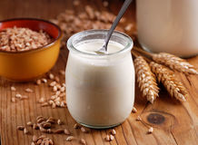 Yogurt with cereal. In the little glass jar Stock Image