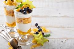 Yogurt cereal parfait with mango stock photos