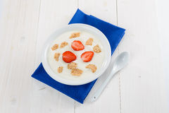 Yogurt, cereal and strawberries Royalty Free Stock Image