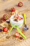 Yogurt with cereals muesli and fresh strawberries Stock Images