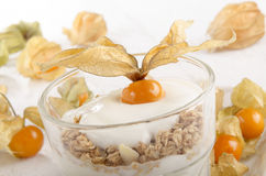 Yogurt with cereals and physalis Royalty Free Stock Photos
