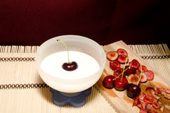 Yogurt with cherries Stock Photo