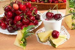 Yogurt with cherries Stock Image